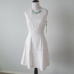 Calvin Klein white pleated dress